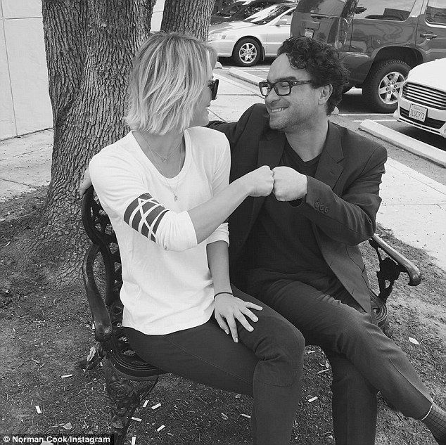 Best buds: Newly single Kaley Cuoco, 29, flatly denied she's hooked up with Johnny Galecki, in an Instagram post on Wednesday