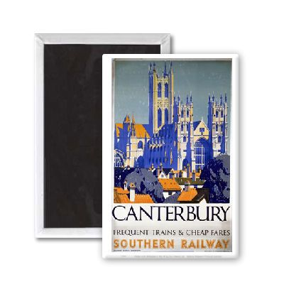 Canterbury Frequent Trains and Cheap Fares #Vintage #Rail #Train #Poster #Print #Art #Vintage #Old #Classic #British #Britain #UK #Travel #Railway #Posters #Gifts #Products #Merchandise #England #Present #Kent #Garden #Magnet