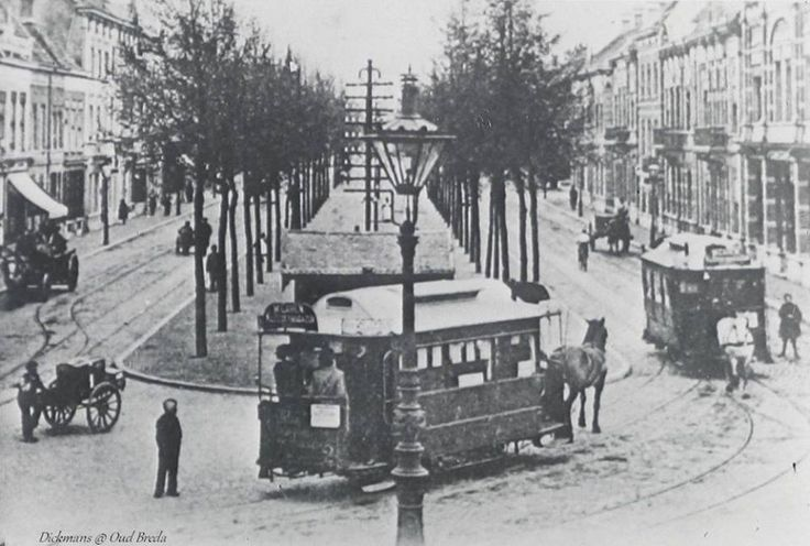 Wilhelminastraat tram van Ginnekensche Tramweg Maatschappij Het lijntje rechts is een aftakking naar Concordia.