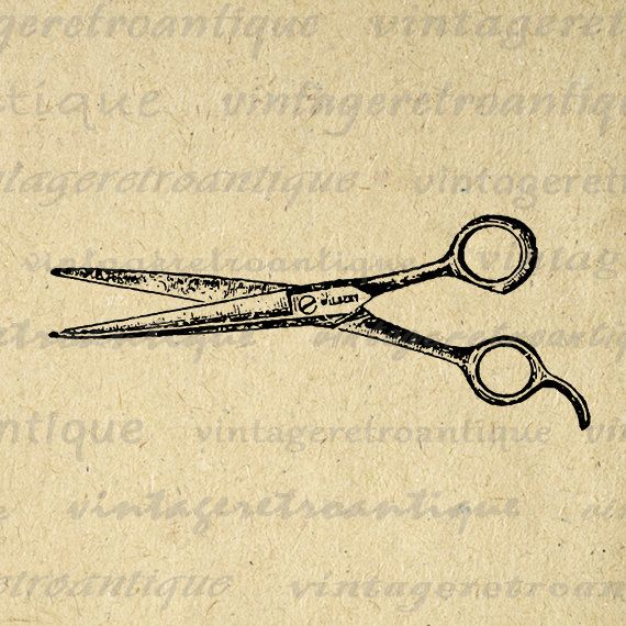 Printable Salon Hair Cutting Shears Barber by VintageRetroAntique