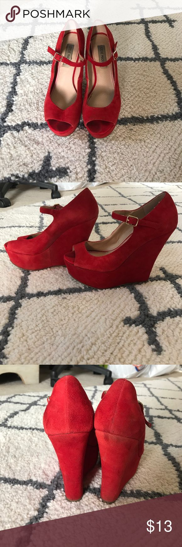 Steve Madden Red Platform Wedges Super cute suede red platform wedges! Perfect to dress up a pair of skinnys or a simple dress! Haven't worn them in awhile, so selling them! Steve Madden Shoes Wedges