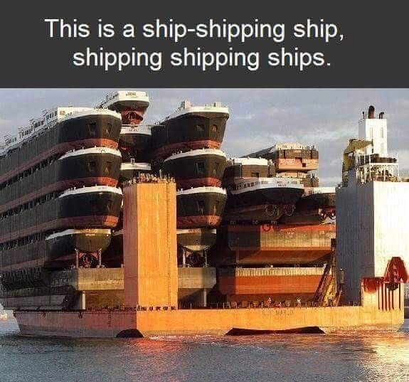 Ship-shipping ship, shipping shipping ships. Confusing but then you get it. Had to read it twice.