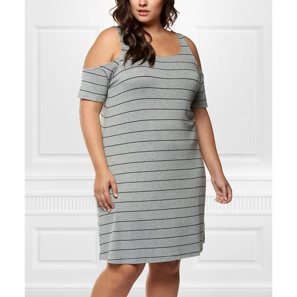 Dex Clothing Gray & Charcoal Stripe Cutout Shift Dress ($30) ❤ liked on Polyvore featuring plus size women's fashion, plus size clothing, plus size dresses, plus size, cut-out shoulder dresses, stripe dresses, cutout dresses, charcoal gray dress and grey dress
