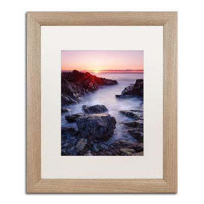 "Trademark Art 'Marginal Way Sun' by Michael Blanchette Framed Photographic Print Matte Color: White, Size: 20"" H x 16"" W x 0.5"" D"
