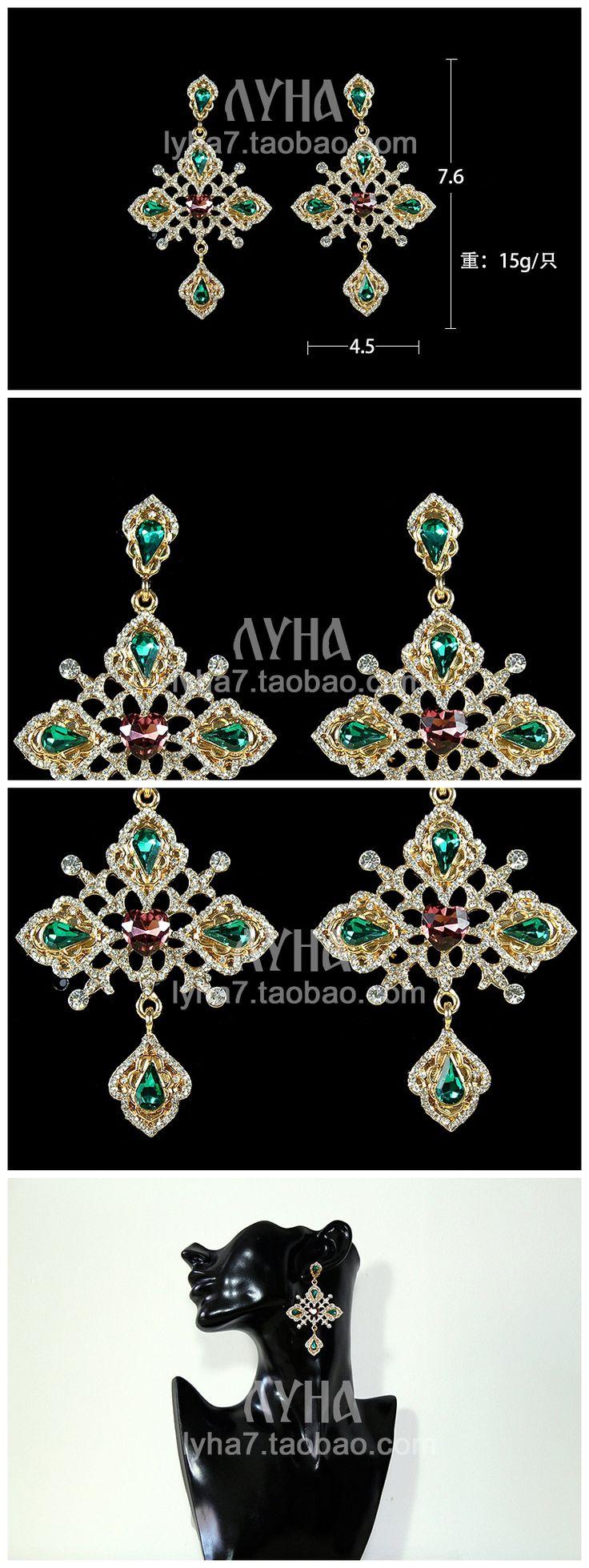 Известные торговые марки позолоченные ретро DG женщин ювелирные изделия зеленый хрустальный дворец в стиле барокко сицилии византийский крест бирюзовый серьги для девочек купить на AliExpress