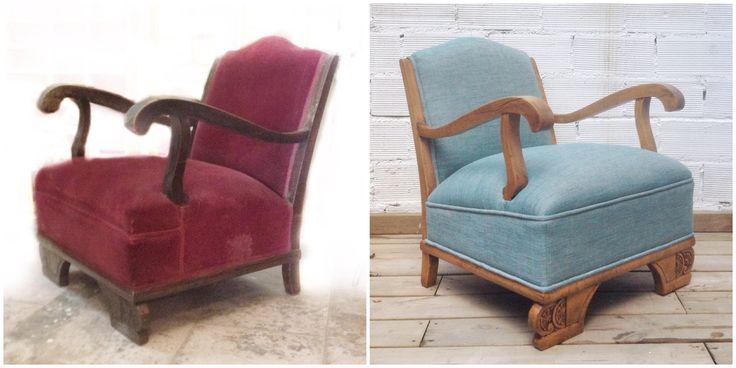 Antes y Después - Un sillón antiguo restaurado y re-tapizado. Studio Alis - Barcelona