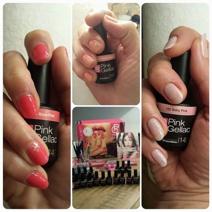 Eerste keer getest op mijn twee schoonzusje en moeder. Heel blij mee! # 161 Ibiza Pink met nail airt glitter pink ...
