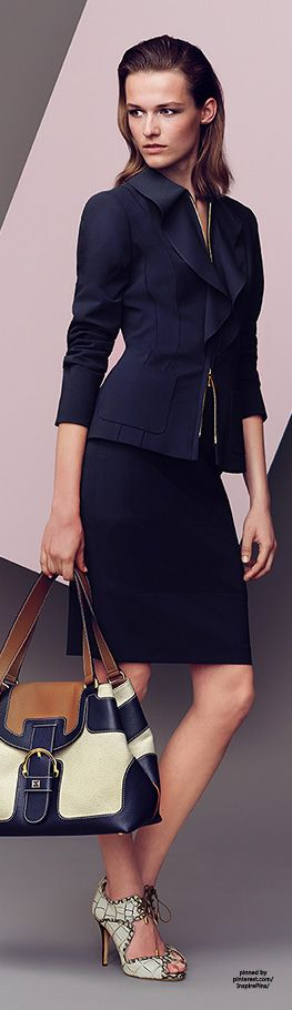 Escada #PurelyInspiration | Business style fashion | Chic VIP Woman in navy  blue suit dress