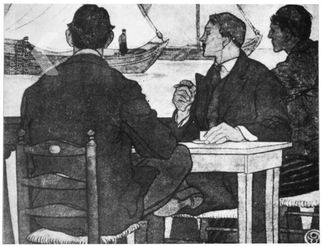 Edward Penfield 1900-1907. Schilders op het terras bij Hotel Spaander.