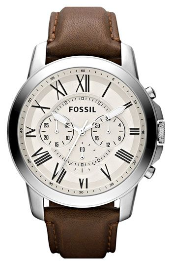 Fossil 'Grant' Round Chronograph Leather Strap Watch available at Nordstrom, curated by www.mondouomo.com