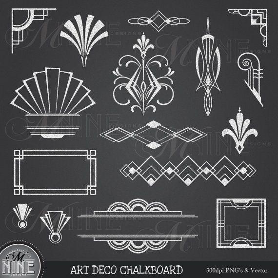 CHALKBOARD Clipart ART DECO Clip Art Design Elements Digital, Instant Download, Vintage Accents Frame Borders Clip Art Illustrations
