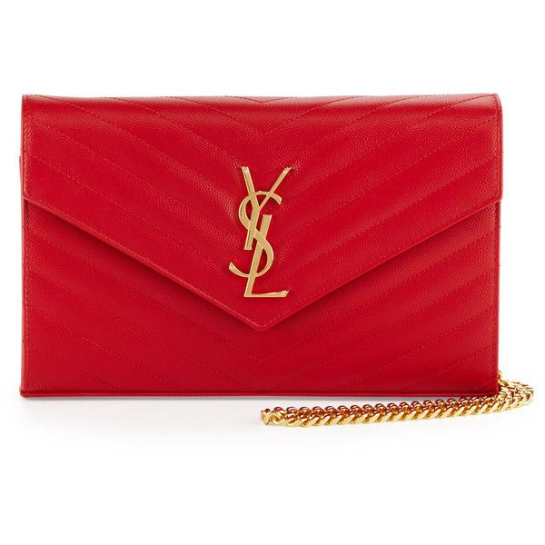 Saint Laurent Monogram Matelasse Wallet-on-Chain ($1,645) ❤ liked on Polyvore featuring bags, handbags, clutches, ysl, borse, red, chain handbags, monogrammed clutches, monogram handbags and chevron handbag