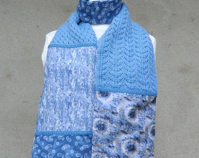 Écharpe Étole - Originale - Fantaisie - Modèle Unique - Femme - En tissu Laine Galon - Coloris ton bleu - 180cm X 23cm - 100% Fait Main