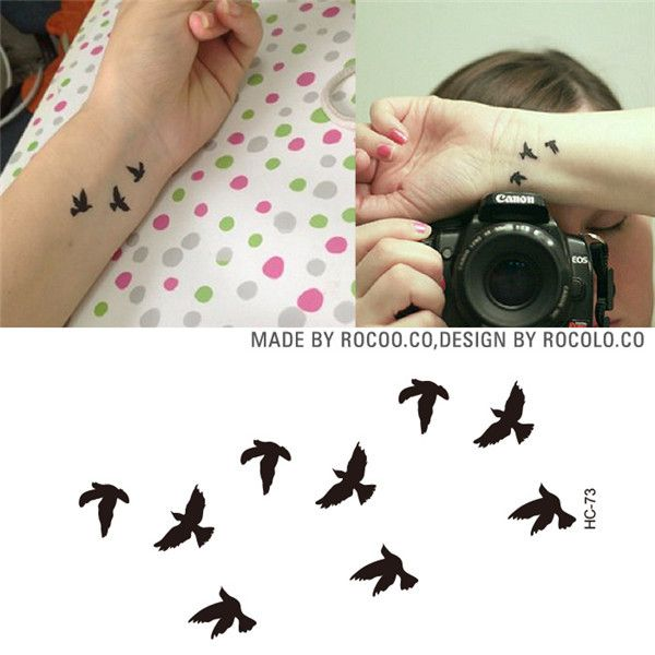 2015 New Women Sexy Finger Wrist Flash Fake Tattoo Flush Stickers Liberty Small Birds Fly Design Waterproof Temporary Tattoos