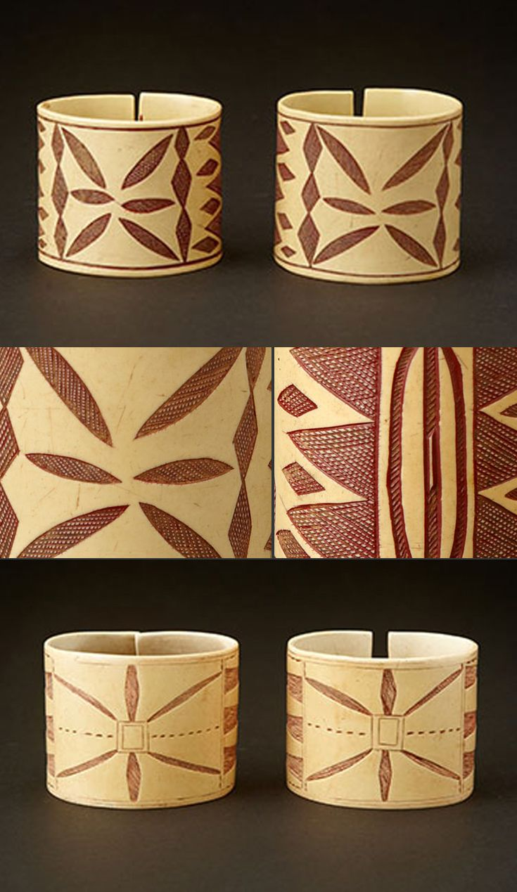 Namibia | Cuffs from the Himba people of Namibia.  Traditionally made by men; the incised geometric designs are scratched or burnt into the plastic surface and then rubbed with ochre and other natural pigments | 250$ per pair