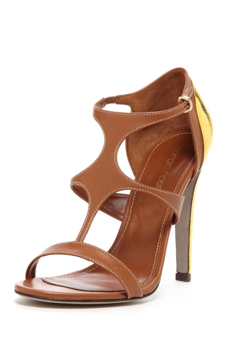Sergio Rossi Foiled Plate Trim High Heel Sandal $585.00