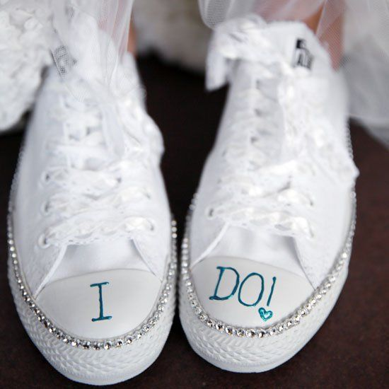 On your wedding day, mix style with comfort as you walk down the aisle in our DIY bling sneakers.