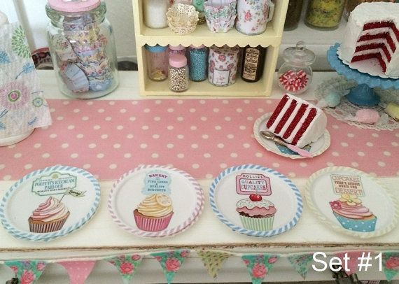 MINIATURE PAPER PLATES Choose 1/12 Scale or by BakinginMiniature