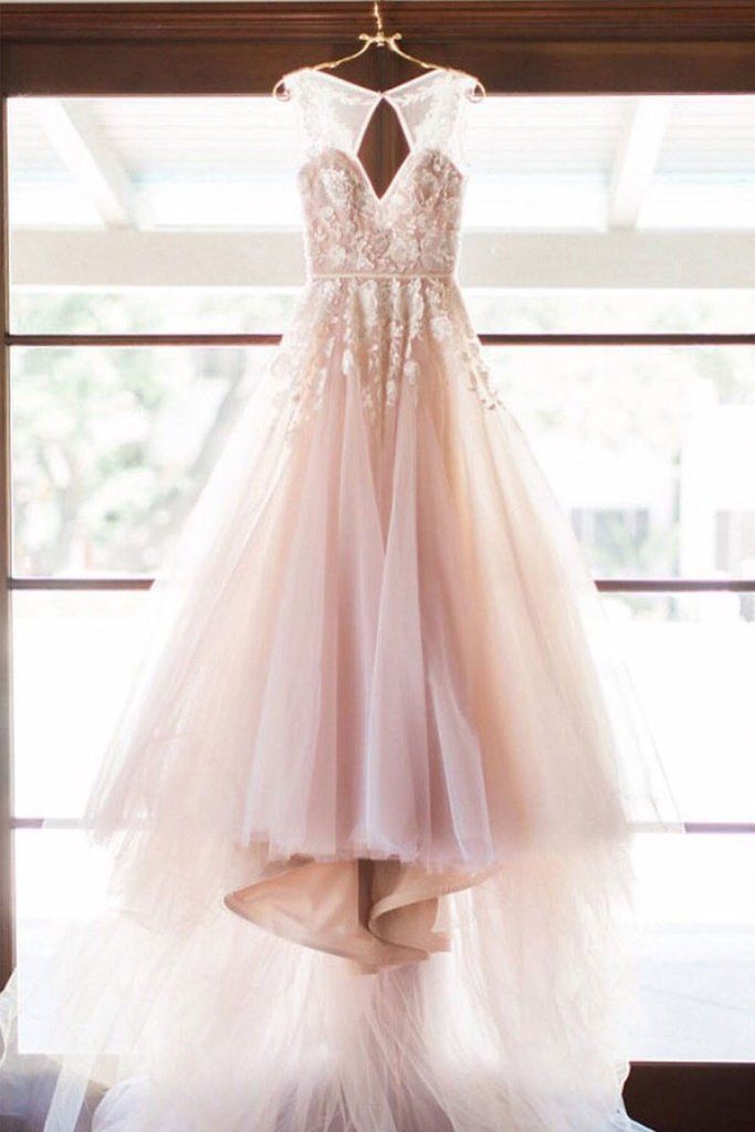 7688155e5bde unique v neck lace applique tulle long prom   olesaprom--WEDDING DRESSES    Pinterest   Kleider