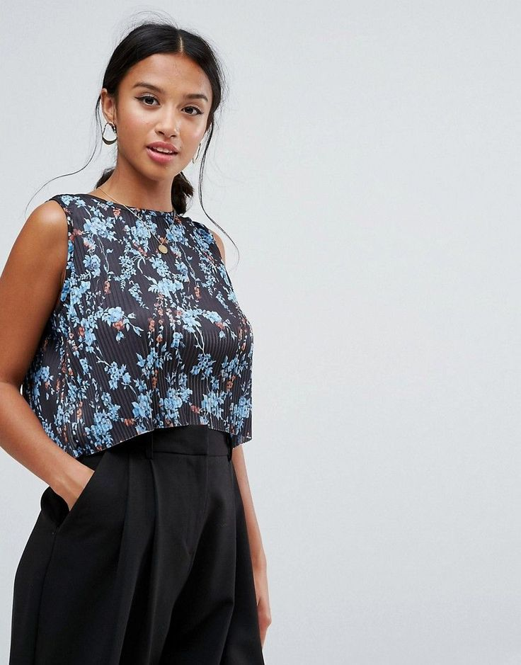 ASOS PETITE Top with Split Back in Pleated Ditsy Print - Multi