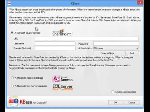 KBase articles and settings can be shared via a SharePoint site or via an Access or SQL Server database. Also refer to http://www.kalmstrom.com/products/KBase/