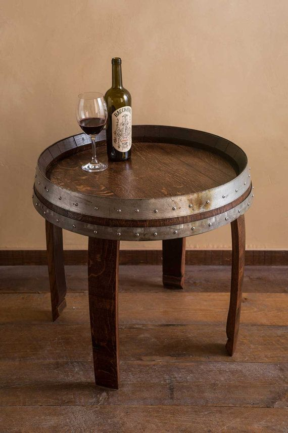 Wine Barrel End Table 22 by alpinewinedesign on Etsy, $395.00