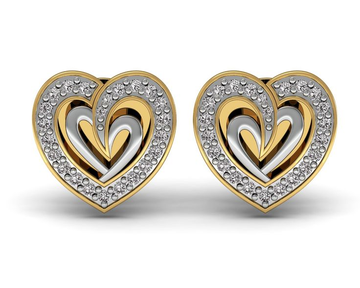 Natural Diamond Stud Earrings 18K Yellow Gold Fine Wedding Jewelry