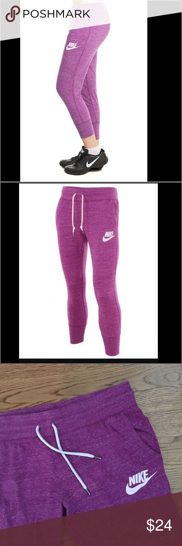 New Listing! Nike gym vintage capris Lightweight French Terry sweatpants are designed with a wide, elasticized waist band and slim, athletic fit for versatile and comfortable wear. Slant pockets, drawstring waist, 60% organic cotton, 40% polyester. Size medium -excellent condition. Color is berry- purple/pink. Nike Pants Capris