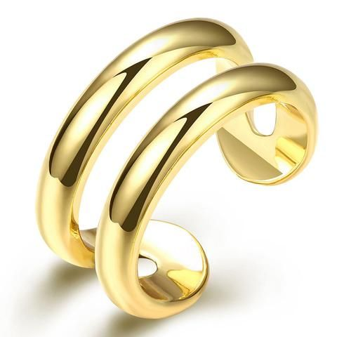 2017 New Korean-style Cheap Women Finger Rings Gold Plated Fine Adjustable Rings for Woman Double Circle Ring Jewelry Bijoux - CuteRun #jewelry #necklace #earring #earrings #rings #rings #bracelet #bracelets  #jewelryforher  #jewelryforhim