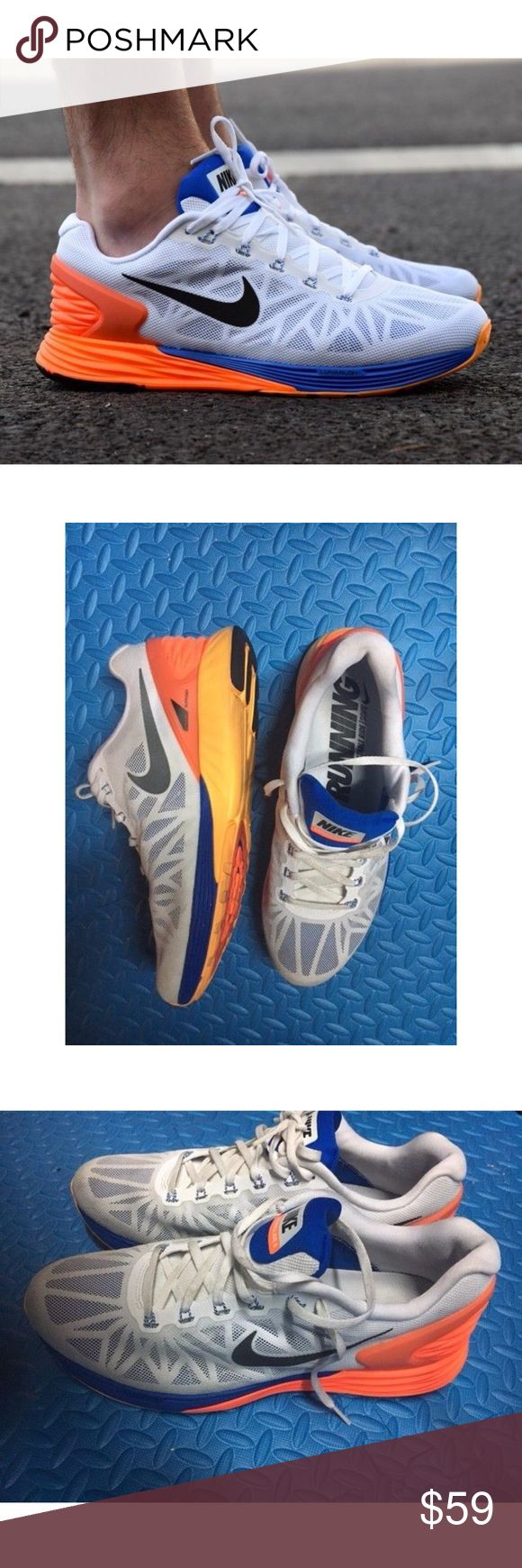NIKE LUNARGLIDE 6 Mens Athletic Orange Blue Shoes Nike Lunarglide 6 mens running shoes. size 11.5 Color: white, orange, and blue. Preowned. Worn a handful of times. Some marks / scuff and soil at front. Sold as is. No box. Nike Shoes Sneakers