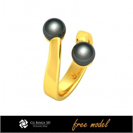 3D CAD Ring with Pearls-Free 3D Model