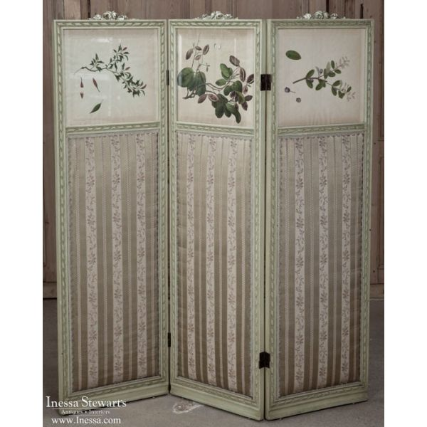 Accessories | Miscellaneous Antique Accessories | Italian 19th Century Hand-Painted Dressing Screen | www.inessa.com