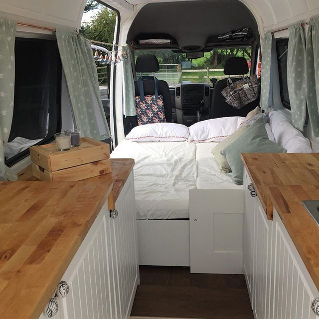 Just Another Angle Of Our Van Showing The Bed Fully Pulled Out. It Is A  Brimnes Ikea Day Bed So Itu0027s A Sofa By Day And Double Bed By Night. Super  Comfy.