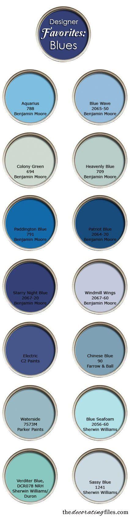 """Blue Paint Colors: Designer's Favorite Picks"" by the decorating files (http://decoratingfiles.com)"