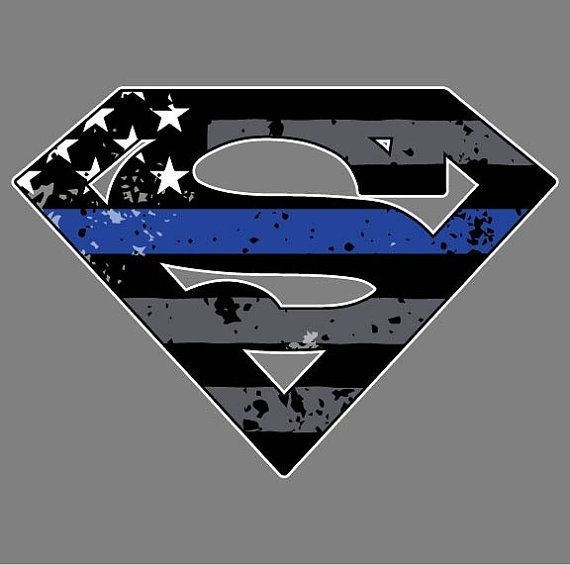 Thin Blue Line Superman Decal by ANGPrintingAndDesign on Etsy
