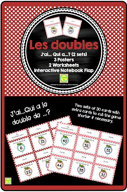 Math in French - Les Doubles - 2 sets of J'ai…Qui a…?, posters and more! (I have… Who has…?)