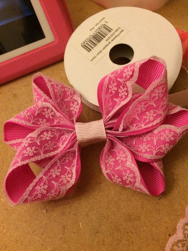 Making a large pink and white lace hair bow. crafting, my craft, dreambows, lace hair bows, hand crafted bows, ribbon hair bows, hair clips, stylish hair bows