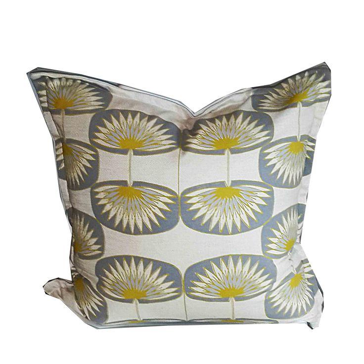 Suzie Qu bespoke Lily Pad repeat in Graphic grey's & dandelion yellow on Clotted cream base cloth www.suziequ.co.uk