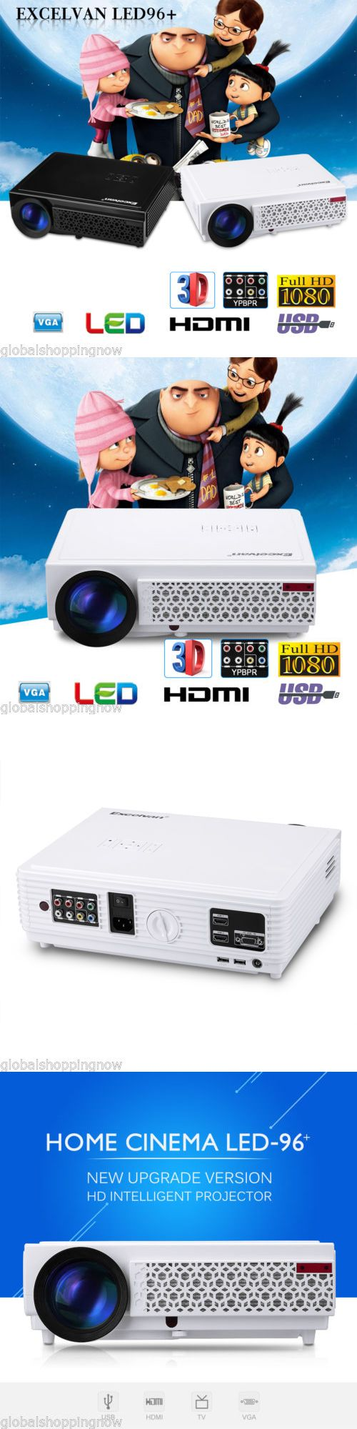 Home Theater Projectors: 5000 Lumens 3D Projector Full Hd 1080P Led Home Theater Movie Av/Vga/Tv/Usb/Hdmi BUY IT NOW ONLY: $163.99