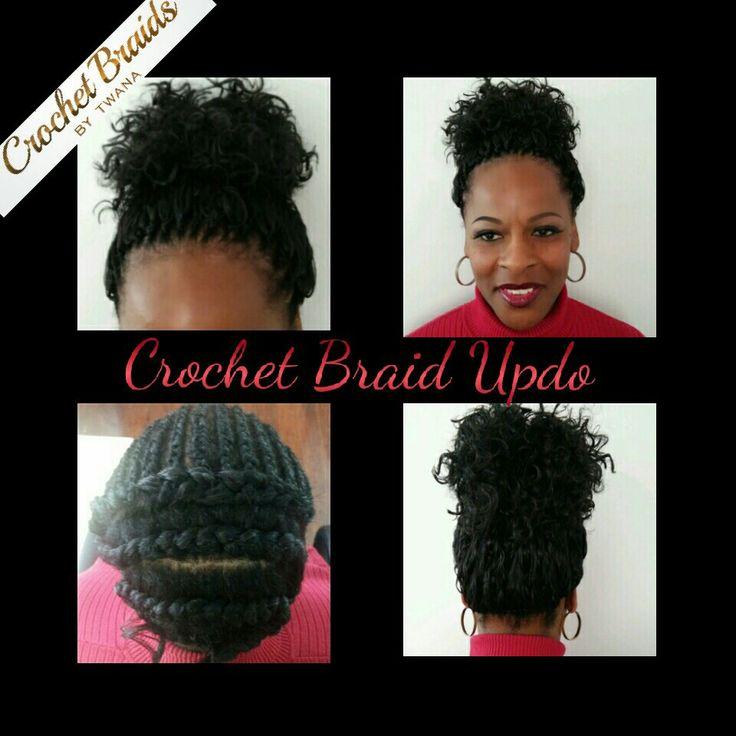 Crochet Braids Up In A Bun : Freetress Gogo Curl Crochet Braids up in a fluffy bun. 14 front ...