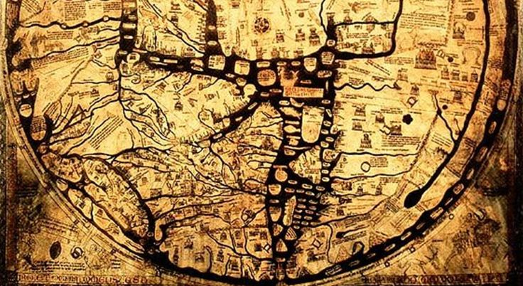 """Detail, the medieval Hereford Mappa Mundi, """"Cloth of the World"""" in Hereford, England. Circa 1300."""