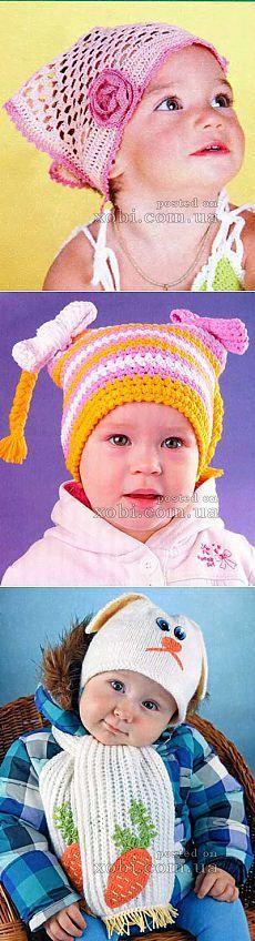 Вязаные детские шапки, шляпки, береты, косынки и шарфы вязаные крючком и спицами. » Страница 7