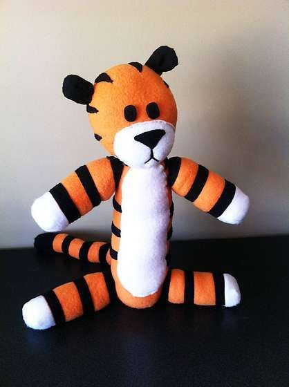 """How to make a stuffed Hobbes (from """"Calvin and Hobbes""""); complete with pattern, in a handy .pdf file."""