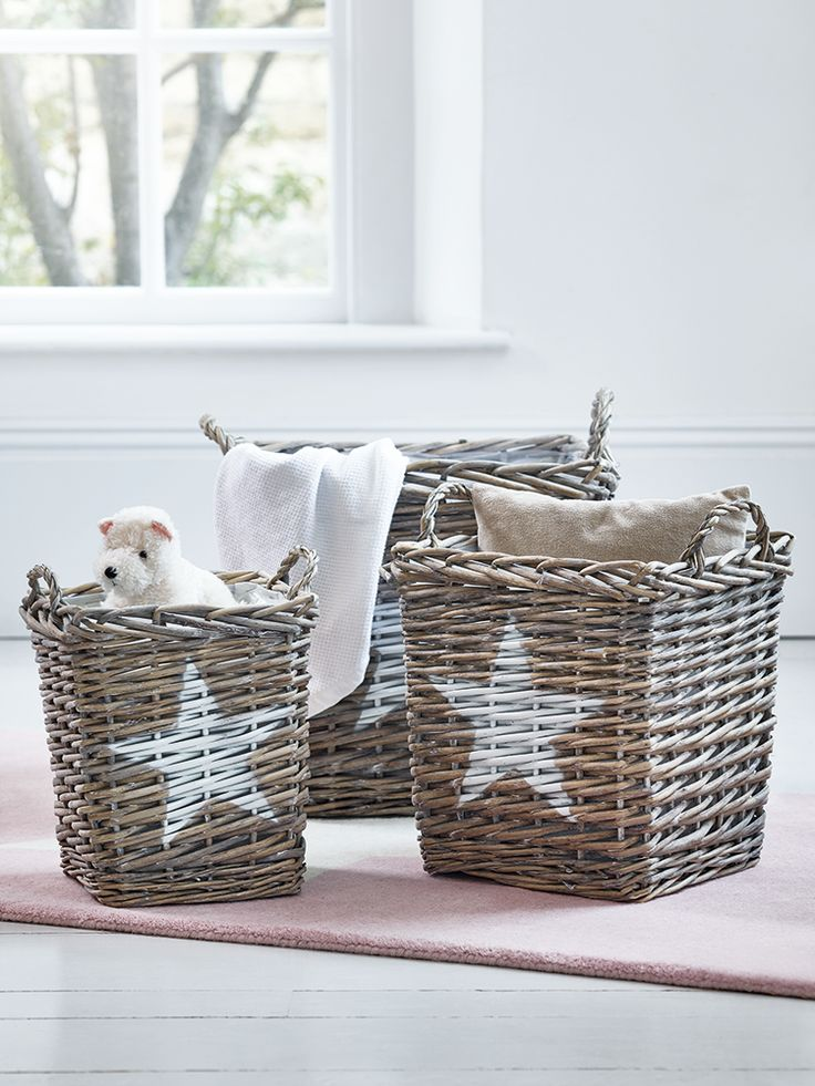 Made from sturdy willow with a greywash finish and white star printed front, each strong woven basket includes two flexible handles and a durable clear plastic interior. Easy to carry around and useful for storing anything from outdoor shoes to toys and games, our three different sized baskets are a stylish alternative to plain plastic boxes.