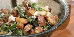 Grilled Potato Salad with Arugula, Goat Cheese and Lemon-Mustard-Tarragon Vinaigrette