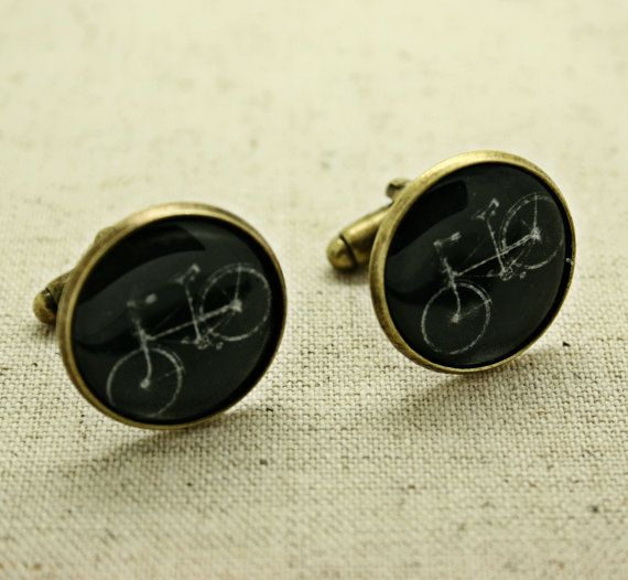 Vintage Bicycle Bike (Black) Retro Cool Cufflinks - Gift boxed - Ready to Gift Groomsmen Ushers Wedding Party Present for Him