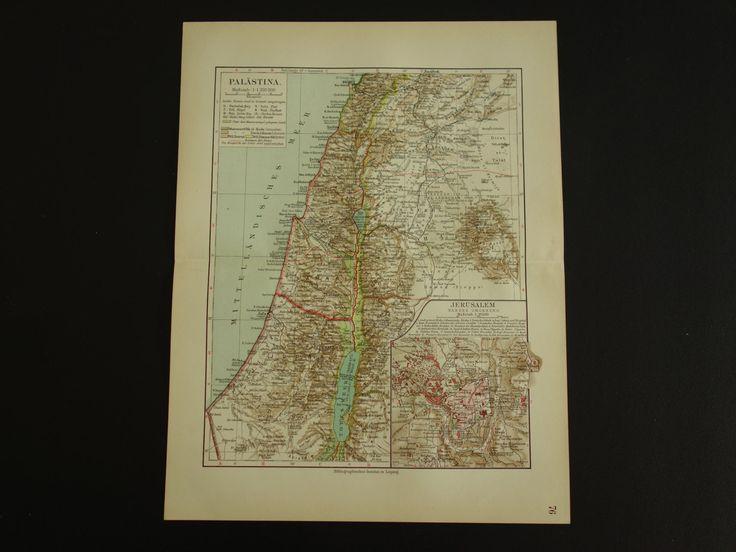 "PALESTINE old map 1913 very detailed antique map of Palestina Jerusalem Syria - original vintage maps Israel Nablus Tel Aviv - 25x33c 10x13"" by VintageOldMaps on Etsy"