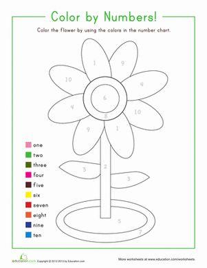 color by number flower colors number worksheets and kindergarten counting. Black Bedroom Furniture Sets. Home Design Ideas