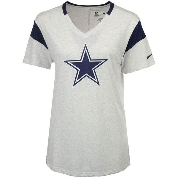 Nike Women's Dallas Cowboys Fan V Top T-Shirt ($40) ❤ liked on Polyvore featuring tops, t-shirts, white, nfl tees, nfl top, white top, nike top and nfl t shirts