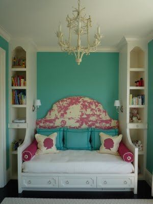 Aqua dream day bed with pink toile headboard and chandelier: Guest Room, Daybed, Built In, Color, Dream House, Girls Room, Bedrooms, Girl Rooms, Bedroom Ideas